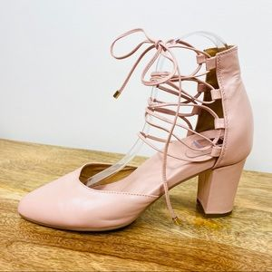 Bared Blush Pink Leather Block Heels Size 38